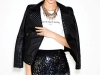 This beaded miniskirt gives Tinseltown new meaning. An unexpected biker jacket kicks this look into full gear. www.zara.com