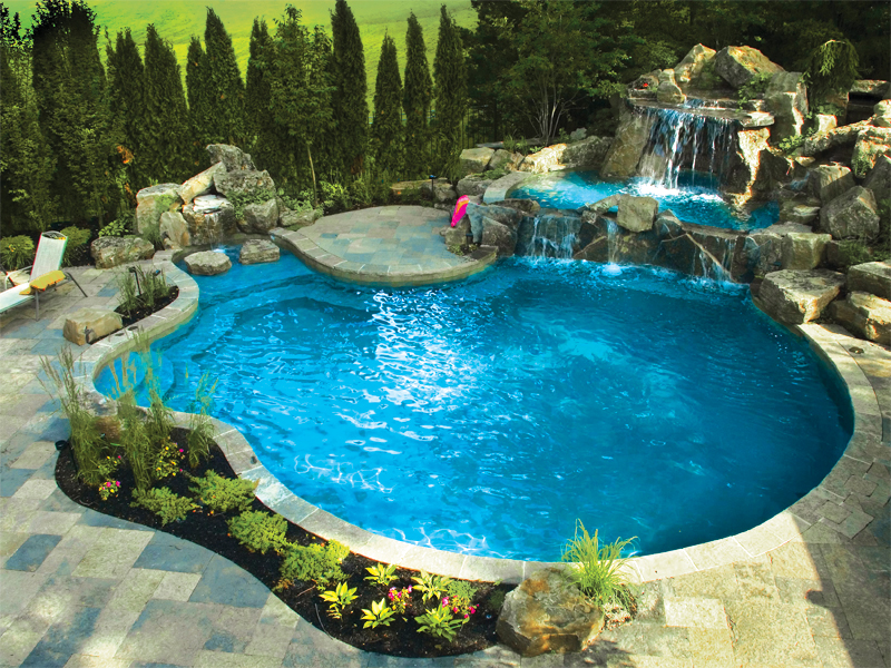Backyard escapes with gib san pool landscape creations Backyard landscape design with pool