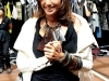 Donna Karan of DKNY shares a smile backstage at her fresh, youthful fashion show.