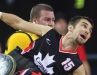Patrice Simard takes hold of the ball in wheelchair rugby