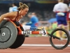 Wheelchair racer Diane Roy powerhouses down the track