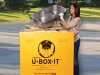 U-Box-It's disposable junk removal container made from recycled material is ideal for tight spaces.