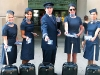 In an ode to the early days of flying, Porter Airlines' flight attendants are fitted in refined, retro uniforms.