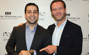 L'Oro Jewellery storeowner Haigo Derian with Linde Werdelin co-founder Jorn Werdelin at an exclusive in-store event.